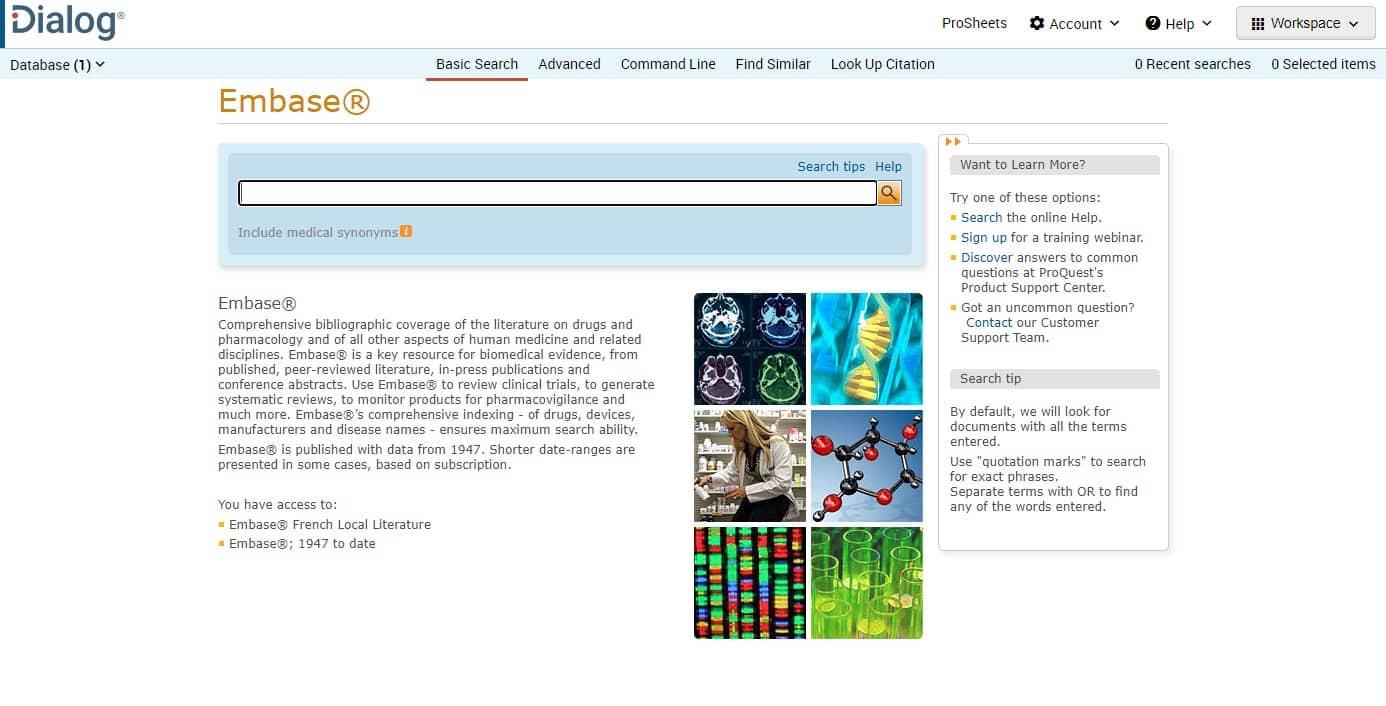 Screenshot of using Dialog to search Embase